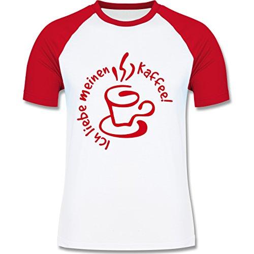 Küche - Ich liebe meinen Kaffee - zweifarbiges Baseballshirt für Männer Weiß/Rot