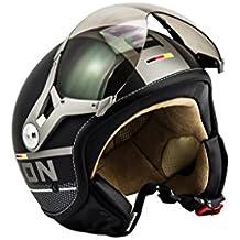 SOXON SP-325-PLUS Black · Retro Helmet Bobber Vintage Chopper Scooter Casco Demi-Jet Cruiser Mofa Biker Urbano Piloto Vespa Moto motocicleta Urban · ECE certificado · incluyendo parasol · incluyendo bolsa de casco · Negro · M (57-58cm)