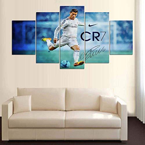 HIMFL Wandkunst Poster Modern Wohnkultur Wohnzimmer 5 Stücke Cristiano Ronaldo Intensives Fußballspiel Segeltuch Malerei Modular Bilder,B,10×15×210×20×210×25×1