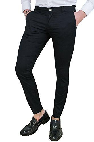 Cristiano battistini pantaloni uomo slim fit casual eleganti in cotone (44, nero)