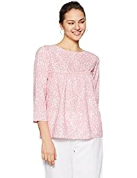 Styleville.in Women's Peach Printed Peach top with 3/4th Sleeve