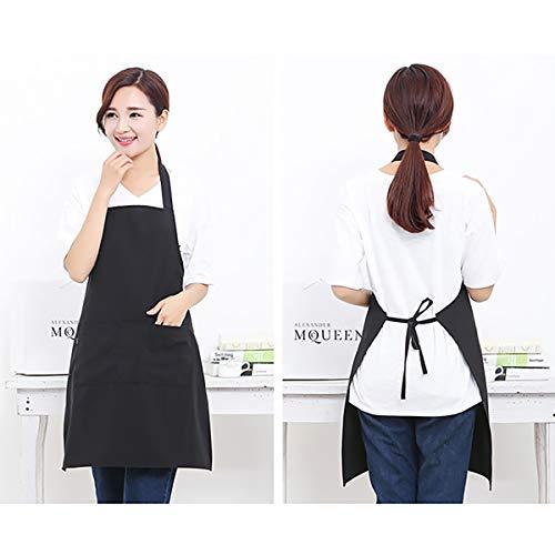 She-Lin Lot de 2 Tabliers de Cuisine réglables avec 2 Poches Noir