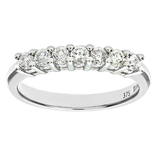 Naava - Anillo para Mujer de Oro Blanco 9K con 7 Diamantes 0.5 ct Talla 22