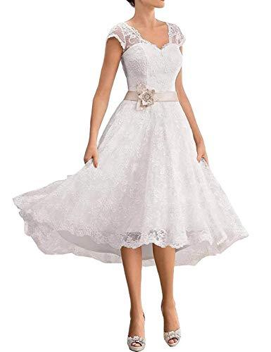 cca8a61fd68a9b VKStar® A-Linie V-Ausschnitt Spitzen Brautkleider Kurz Elegante  Hochzeitskleider Standesamt Abendkleider Knielang Große Größen Elfenbein 36
