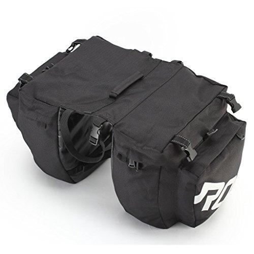 TOFERN Gepäckträgertasche Regenschutz Doppelpacktasche Leicht Drei-Packtasche Abnehmbar Mit Reflektorstreifen Satteltaschen Klettbefestigung Mit Regenkappe Fahrradtasche schwarz