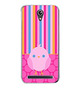 Fiobs Designer Back Case Cover for Asus Zenfone Go ZC500TG (5 Inches) (Bird Multicolor Multicolour Stripes Chidiya Mobile Cover)