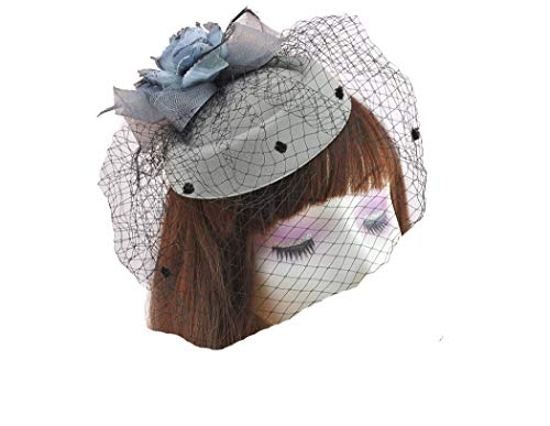 dressfan Stirnband Fascinator Vintage Promi Woolen Mesh Kopf Blume Hut Kopfschmuck Schleier Hut Kopf Haar-Accessoire -