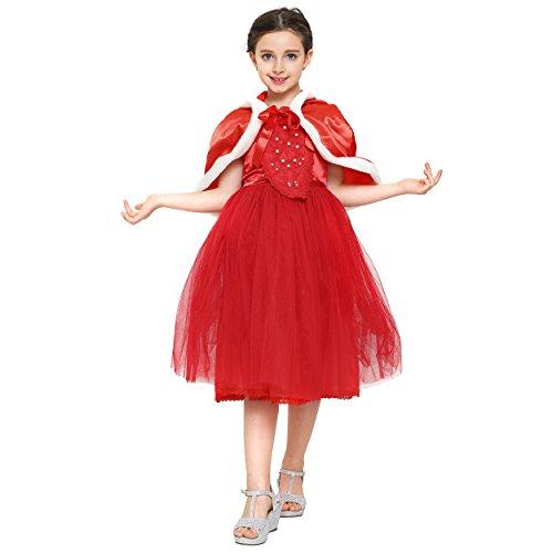 Imagen de katara 1681  disfraz de la reina de la nieve, vestido bordado con capa y la falda de tul para niñas de 7  8 años  color rojo