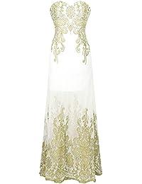 Angel-fashions Mujer Diseno de Bordado Floral Transparente Vestido de Noche Largo