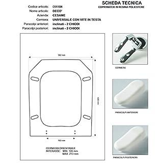 Cesame Deco' White Toilet Seat with Chrome Hinges, Toilet Seat