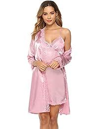 iClosam Damen Nachthemd Sexy Nachtkleid Zwei Stücke Sleepwear Set Trägerkleid Satin Morgenmantel Chemise Pyjama V Aussschnitt Schlafshirt mit Gürtel Spitze Patchwork