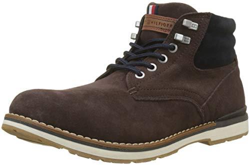 Tommy Hilfiger Herren Outdoor Suede Combat Boots, Braun (Coffee Bean 212), 46 EU