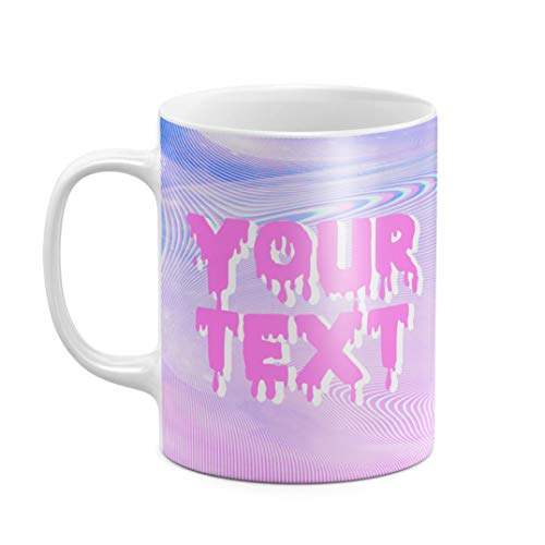 Mug à Thé ou Café Céramique Résistante à la Chaleur 325 ml, Custom Text Citation Name Pastel Kawaii Trippy Rainbow Quote Create Your Own, Personnalisée, Customisable, Initiale Prénom Et Nom De Famille