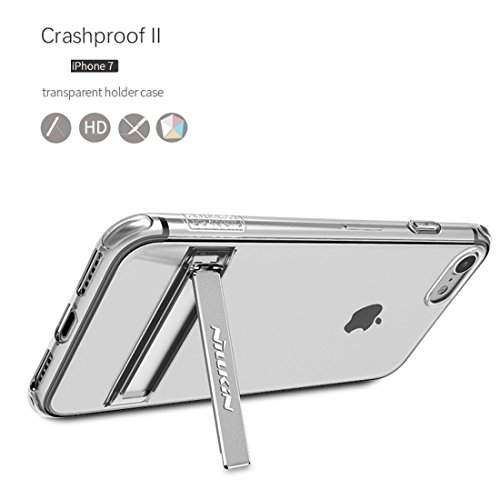 iPhone Case Cover NILLKIN pour iPhone 7 Crashproof Bordure Transparent Soft TPU Étui de protection arrière avec support en alliage d'aluminium ( Color : Blue ) Pink