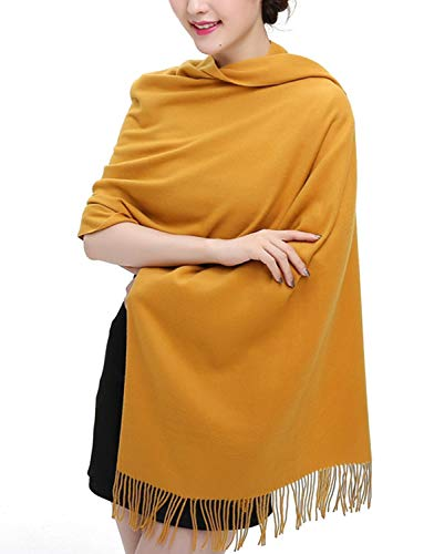 TFENG Damen Schal, 19 Farben Frauen Weich Elegant Stola Schal Tuch, übergroßer Deckenschal Herbstschal Winterschal, Gelb Eleganter Schal