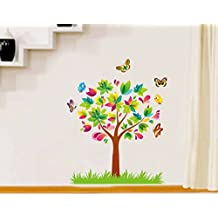 UberLyfe Tree, Butterfly & Birds Around Plant Wall Stickers Size 3 (Wall Covering Area: 80cm x 60cm) - WS-126