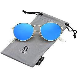 SOJOS Redondo Clásico Espejo Lentes Brillo UV Portección Polarizado Unisex Gafas De Sol SJ1014 Dorado Montura/Azul lentes