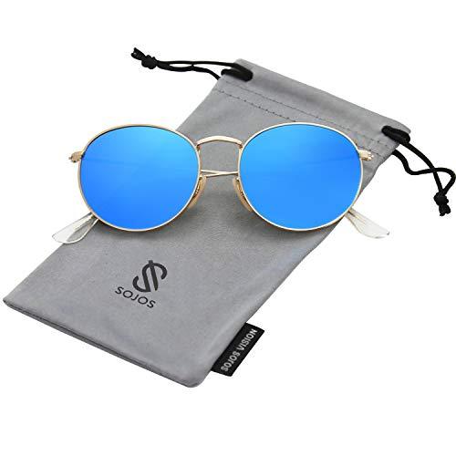 SOJOS Mode Rund Polarisiert Damen Herren Sonnenbrille Mirrored Linsees Unisex Sunglasses SJ1014 mit Gold Rahmen/Blau Linse