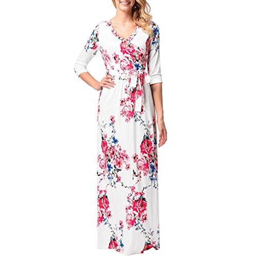 ... Longra Damen Blumen Kleid Lange Kleider Maxikleid Damen Sommerkleider  Elegant Langarm Lang Abendkleider Cocktail Partykleid Boho ... 4d1a1f9cdc
