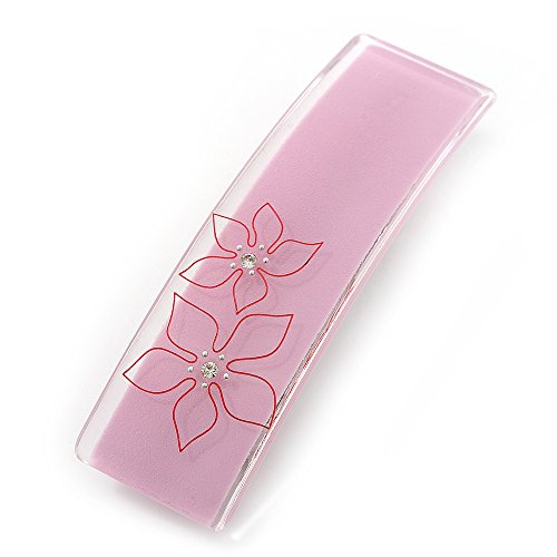 Barrette plastique florale rose clair