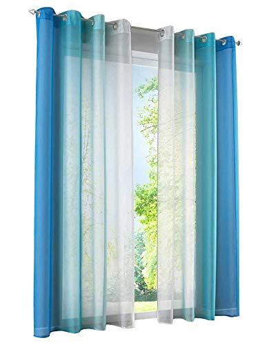 BAILEY JO 2er-Pack Gardinen mit Verlauf-Farben Muster Vorhang Transparent Voile Vorhänge (BxH 140x145cm, Blau mit Ösen)