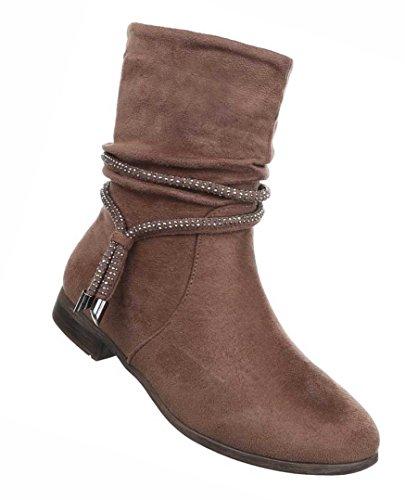 Damen Boots Schuhe Stiefeletten Mit Strassteinchen Schwarz Blau Grau Braun 36 37 38 39 40 41 Braun