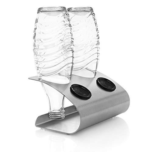 ktDesign 2er Abtropfhalter mit Abtropfschale aus Edelstahl für z.B. Sodastream Crystal inkl. Deckelhalterung (Rund - Edelstahl)