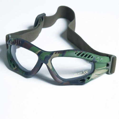 ommando Brille AIR PRO Gläser Smoke oder Klar Softair Schiess- und Outdoorbrille Armee Arbeitsschutzbrille (Woodland / Klar) (Trinken Brillen)
