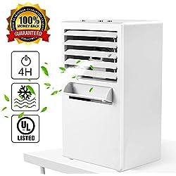 Climatiseur Personnel Ventilateur Refroidisseur d'Air Portable Humidificateur de Circulateur de Brumisateur 9.5 Pouces Ventilateur de Vent Froid Silencieux pas de Fuite pour Été Accueil Bureau,White