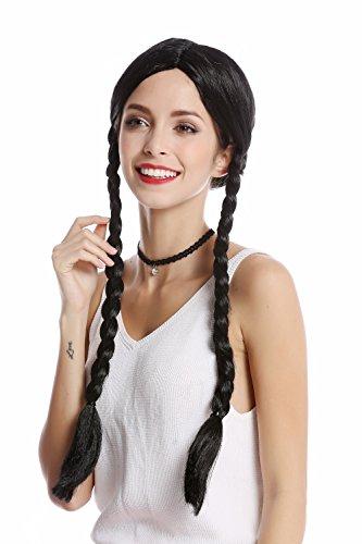 Wig me up ® -90835-za103 parrucca donna halloween carnevale nero lunghe trecce riga in mezzo lolita scolaretta