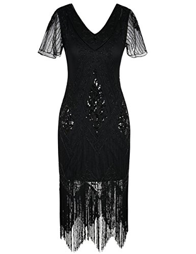 kayamiya Damen 1920er Jahre Vintage Gatsby Kleid Ärmel -