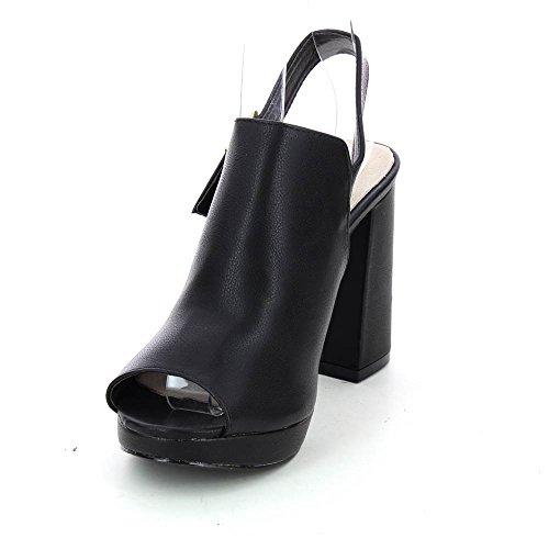 Sandales en simili-cuir à talon épais Noir