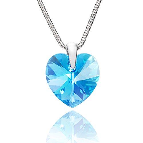 LillyMarie Damen Kette Silber 925 original Swarovski Elements Herz-Anhänger hell-blau längen-verstellbar Schmucketui, Valentinstag Geschenk für Sie
