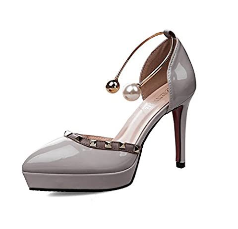 AdeeSu Womens Grommets Platform Low-Cut Uppers Gray Patent-Leather Pumps Shoes - 2 UK