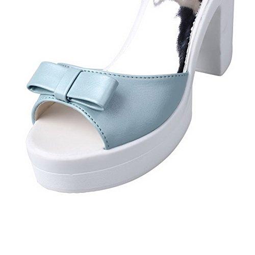 VogueZone009 Donna Puro Tacco Alto Punta Aperta Luccichio Fibbia Heeled-Sandals Azzurro