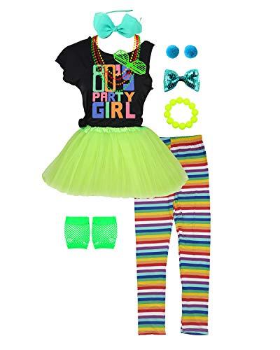 80er Jahre Party Girls Kostüm Outfit Zubehör Neon Stirnband Rock Leggings Handschuhe (8/10, Green)