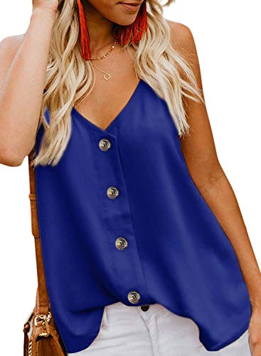 KOKOUK Women's Casual Vest Sleeveless V Neck Button Adjustable Strap Tank Tops Summer Casual Blouse Shirt Size -