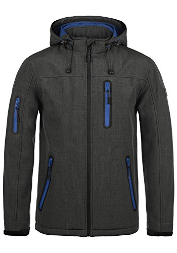 Indicode Ottawa Herren Softshell Jacke Funktionsjacke Übergangsjacke Mit Kapuze Und Fleece-Futter, Größe:L, Farbe:Charcoal Mix (915)