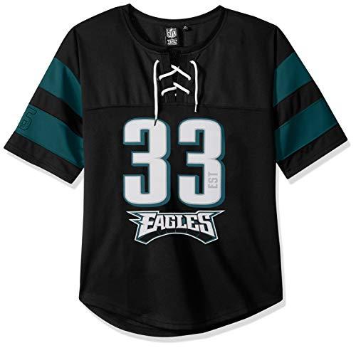 Damen Hockey Jersey (Icer Brands NFL Philadelphia Eagles Damen Hockey-T-Shirt, Netzstoff, Spitze, Größe M, Schwarz)
