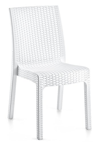 LEBER 2 x Silla Rock Resina imitación rattán Color Blanco. Apilable. Ideal para terrazas y hostelería.