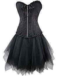 r-dessous Corsagenkleid schwarz Corsage + Mini Rock Petticoat Kleid Korsett Top Gothic Steampunk Übergrößen