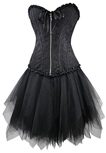 r-dessous Corsagenkleid schwarz Corsage + Mini Rock Petticoat Kleid Korsett Top Gothic Steampunk Übergrößen Groesse: L