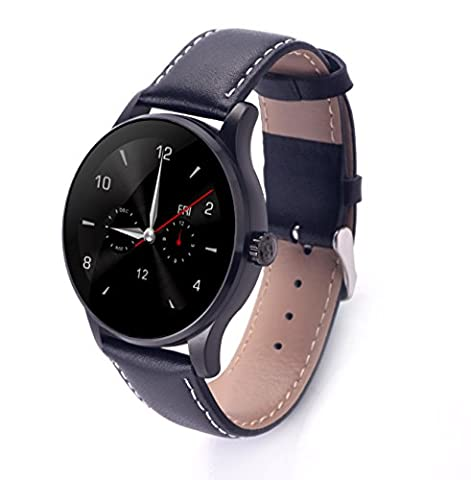 RG cuir Bluetooth Smart Watch for Lovers Couple Fitness Tracker Compatible avec Android IOS, Gift Box Inclus - Noir,Pour Hommes