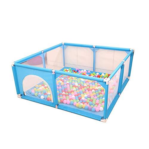 Tragbare Baby Laufstall für Indoor Kleinkind Sicherheit Spielbereich Tor, Haushalt Ball Pool Kind Spielzeug Anti-Fall Leitplanke 62cm (Color : Blue, Size : 150×150×62cm) -