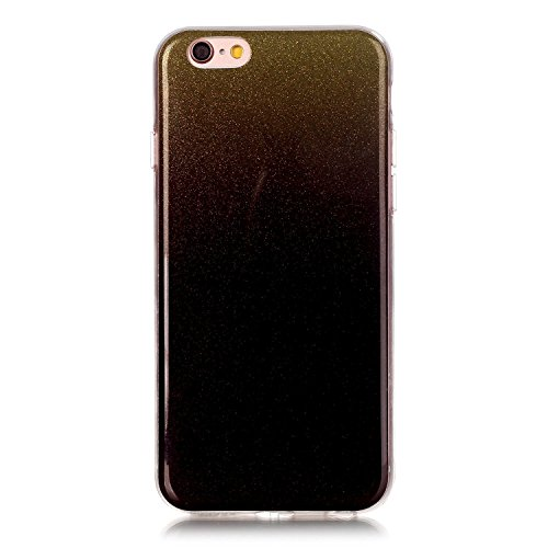 iPhone 6 Hülle, iPhone 6S Hülle, E-Lush Mode Muster TPU Hülle für Apple iPhone 6 6S(4,7 zoll) [Kratzfeste, Scratch-Resistant] Weiche Flexibel Silikon Handyhülle Gradient Crystal Bling Clear Transparen Gold