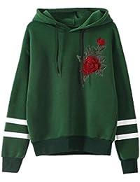 Amlaiworld Sweatshirts Komfortabel locker Blumen Stickerei Sweatshirt Damen  Stripe Pullover mit Kapuzen Herbst Winter Sport Pulli 7047076b6f