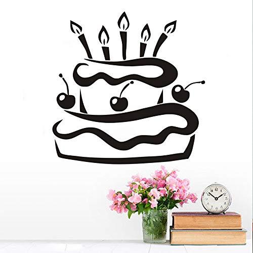 Pvc Wasserdichte Küche Kirsche Geburtstagstorte Mit Kerzen Wandaufkleber Modernes Design Geschenk Vinyl Tapete Home D 59 cm X 59 cm (Schrank Mit Glas Kirsche Türen)