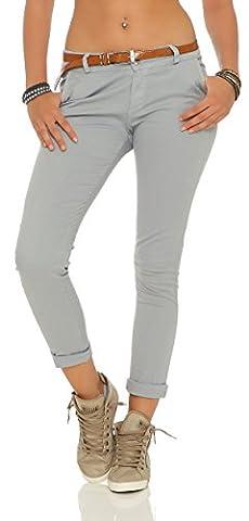 ZARMEXX Damen Stretch Röhrenhose mit Gürtel Chino Skinny Stoffhose Jeggings, Hellgrau, Gr. M (38)
