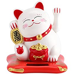 GLOGLOW Eco-Friendly Lucky Toy Solar Powered Cute Cat Buena Suerte de la Riqueza Gatos acogedores con Waving Arm Home Display Car Decor(Bianco)