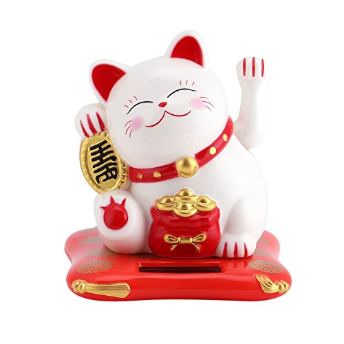 GLOGLOW Eco-Friendly Lucky Toy Solar Powered Cute Cat Buena Suerte de la Riqueza Gatos acogedores con Waving Arm Home Display Car Decor(Bianco)